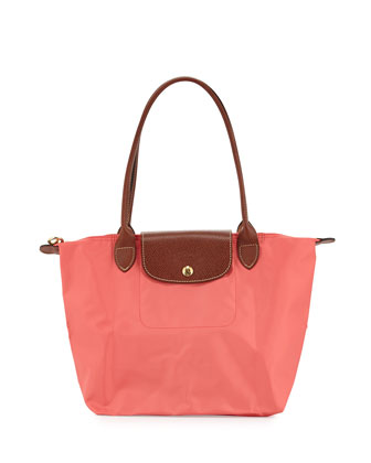 Le Pliage Medium Nylon Shoulder Tote Bag, Coral
