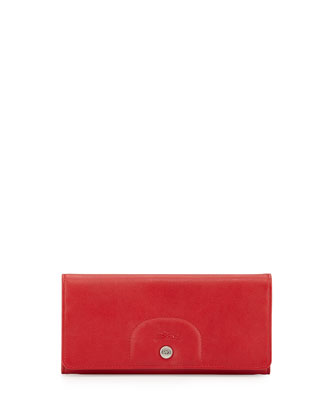 Leather Continental Wallet, Cherry