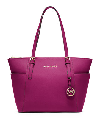 Jet Set Top-Zip Saffiano Tote Bag, Fuchsia