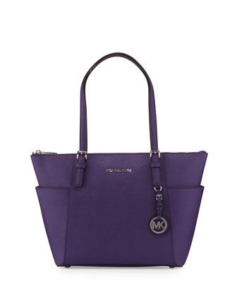 Jet Set Top-Zip Saffiano Tote Bag, Grape