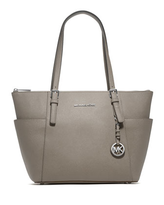 Jet Set Top-Zip Saffiano Tote Bag, Pearl Gray