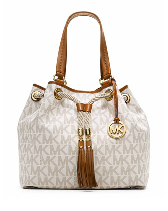 Marina Large Gathered Logo Tote Bag, Vanilla
