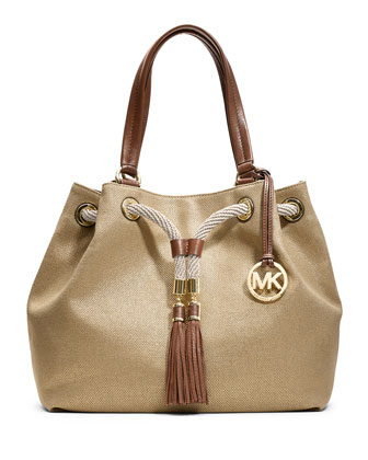 Marina Large Gathered Canvas Tote Bag, Gold