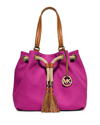 Marina Large Gathered Canvas Tote Bag, Fuchsia