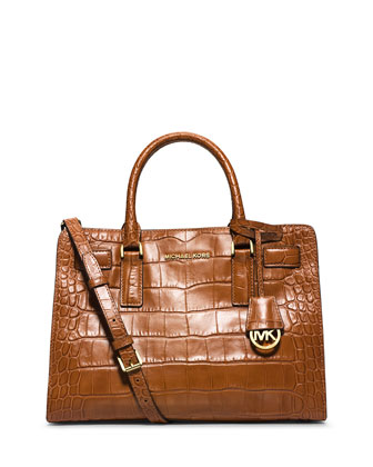 Dillon Croc-Embossed Satchel Bag, Walnut