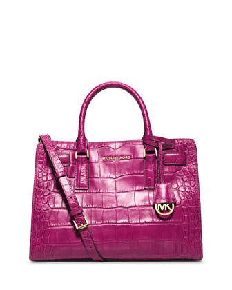 Dillon Croc-Embossed Satchel Bag