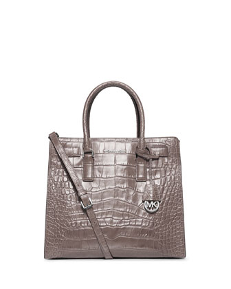 Dillon Large Croc-Embossed Tote Bag, Gray