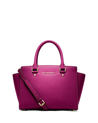 Selma Medium Top-Zip Satchel Bag, Fuchsia