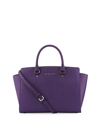 Selma Large Saffiano Satchel Bag, Grape