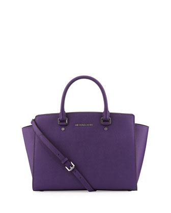 Selma Large Saffiano Satchel Bag, Grape