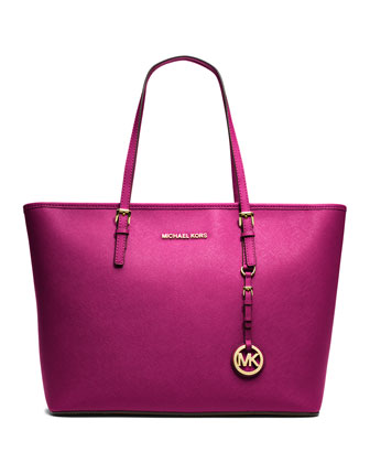 Jet Set Saffiano Travel Tote Bag, Fuchsia