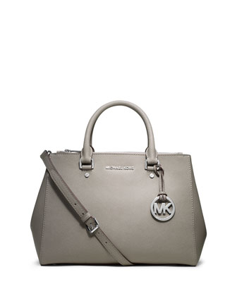 Sutton Medium Satchel Bag, Pearl Gray