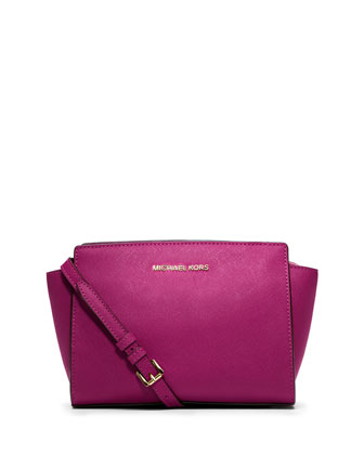 Selma Medium Saffiano Messenger Bag, Fuchsia