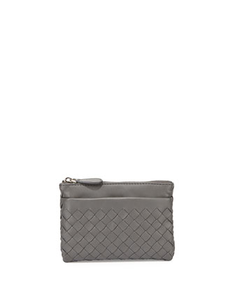 Zip-Top Woven Leather Key Pouch, Light Gray