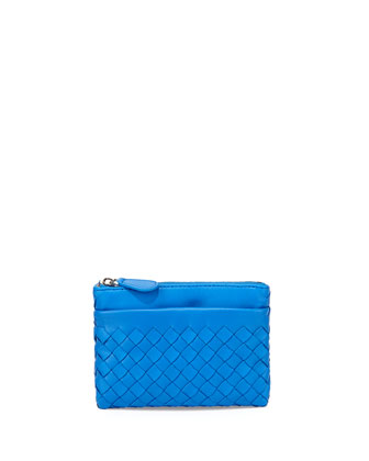 Zip-Top Woven Leather Key Pouch, Signal Blue