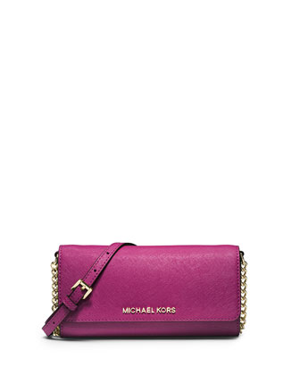 Jet Set Saffiano Travel Wallet-on-Chain, Fuchsia