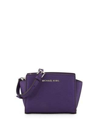 Selma Mini Saffiano Messenger Bag, Grape