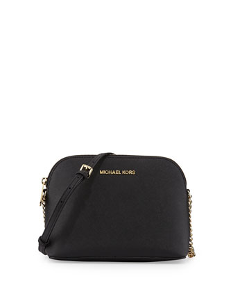 Cindy Large Dome Crossbody Bag, Black