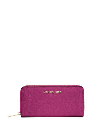 Jet Set Zip-Around Continental Travel Wallet, Fuchsia
