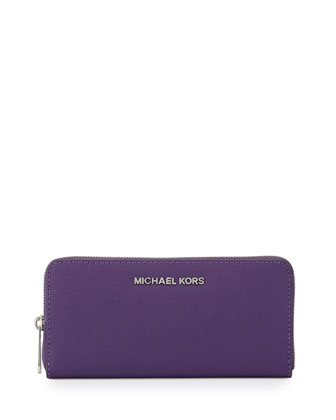 Jet Set Zip-Around Continental Travel Wallet, Grape