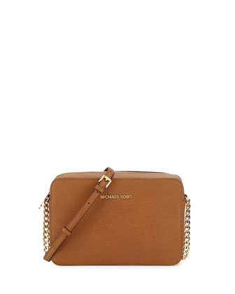 Jet Set Travel Large Saffiano Crossbody Bag, Luggage