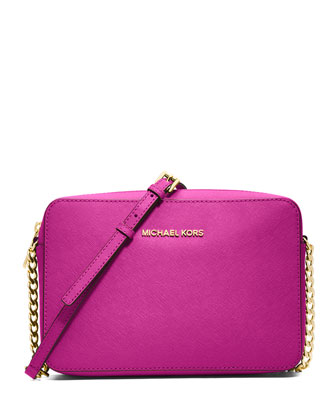 Jet Set Travel Large Saffiano Crossbody Bag, Fuchsia