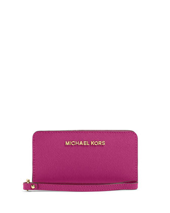 Jet Set Travel Saffiano Slim Tech Wristlet Wallet, Fuchsia