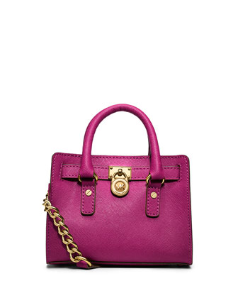 Hamilton Mini Saffiano Messenger Bag, Fuchsia