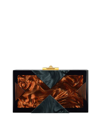Alicia Lucite Clutch Bag, Brown/Black