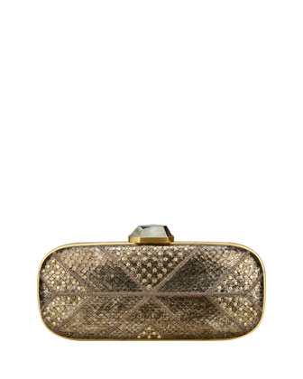 Mary Alice Studded Snake Clutch Bag