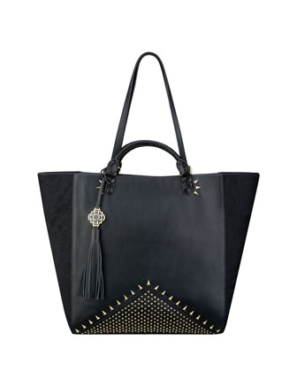 Joe Studded Napa Tote Bag, Black/Gold