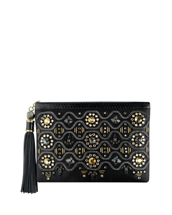 Celia Large Beaded Satin Clutch Bag, Black