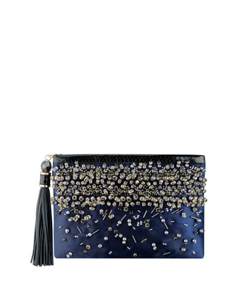 Celia Large Beaded Satin Clutch Bag, Indigo