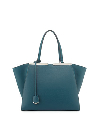 Personalized Trois-Jour Saffiano Leather Shopping Tote, Teal