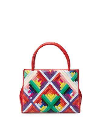 Wallis Small Woven Satchel Bag, Red Multi