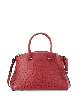 Trevi Shield Ostrich Satchel Bag, Wine