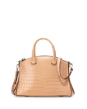 Trevi 32 Crocodile Satchel Bag, Blush Pale Pink