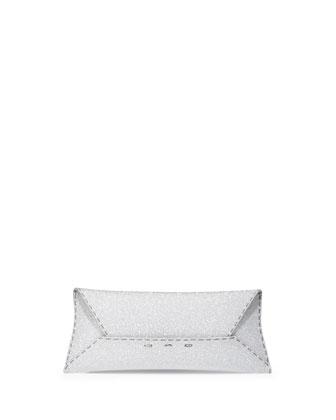 Manila Stretch Glittered Clutch Bag, Silver