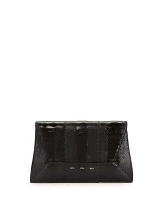 Manila 30 Ostrich Clutch Bag, Black