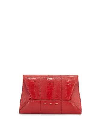 Manila 30 Ostrich Clutch Bag, Red