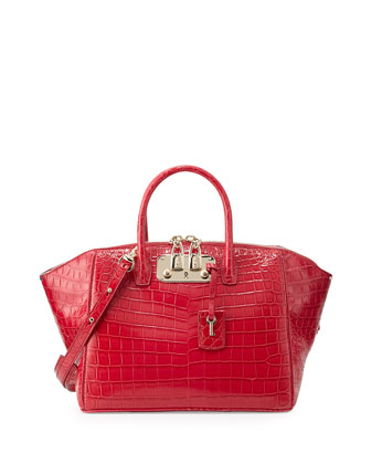 Brera 32 Crocodile Satchel Bag, Azalea