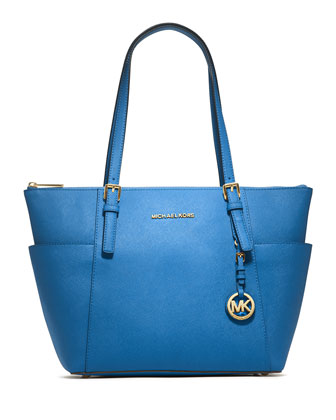 Jet Set Top-Zip Saffiano Tote Bag, Heritage Blue