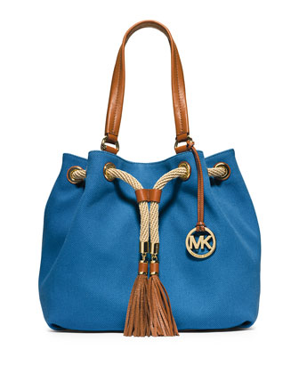 Marina Large Gathered Canvas Tote Bag, Heritage Blue