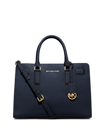 Dillon Saffiano Satchel Bag, Navy