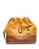 Jules Large Drawstring Shoulder Bag, Sun/Luggage