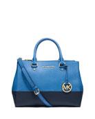 Sutton Medium Bicolor Satchel Bag, Heritage Blue/Navy
