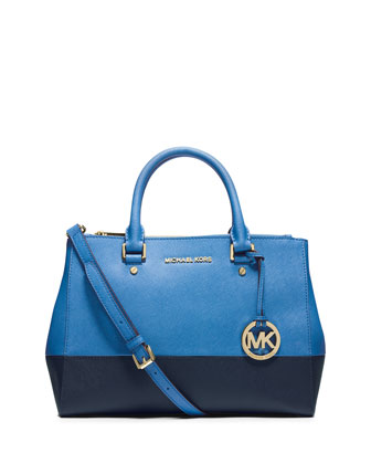 Sutton Medium Bicolor Satchel Bag, Heritage Blue/Navy