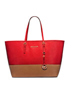 Jet Set Medium Bicolor Saffiano Travel Tote Bag, Mandarin/Luggage