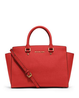 Selma Large Saffiano Satchel Bag, Mandarin