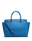 Selma Large Saffiano Satchel Bag, Heritage Blue
